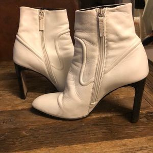 Topshop white leather booties